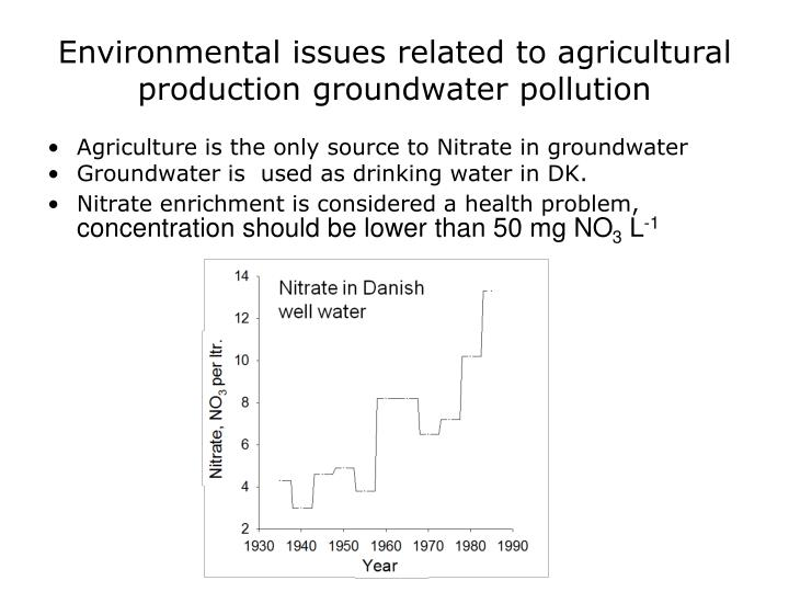 Environmental issues related to agricultural production groundwater pollution