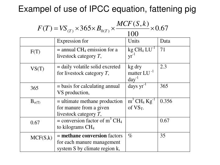 Exampel of use of IPCC equation, fattening pig