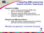 1 supporting smes outsourcing research activities target group