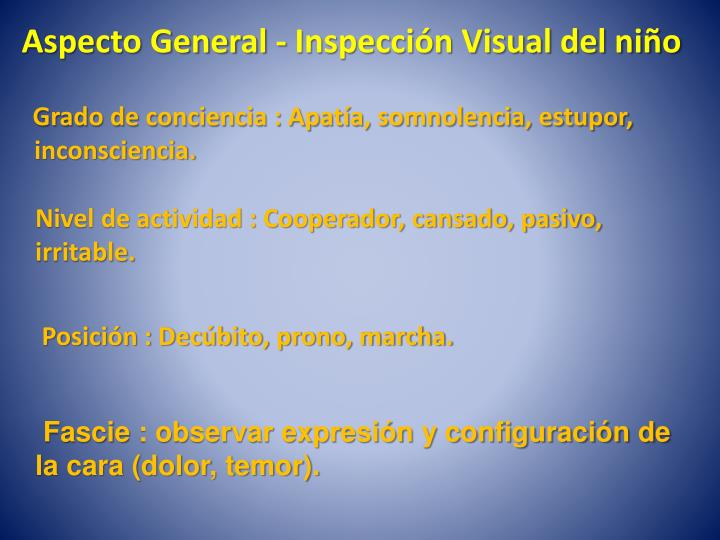 Aspecto General - Inspección Visual del niño