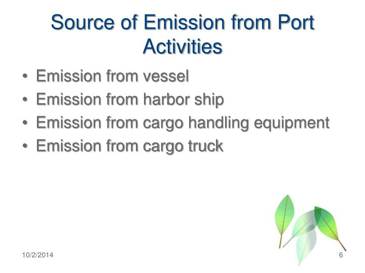 Source of Emission from Port Activities