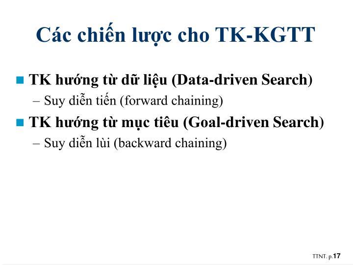 Các chiến lược cho TK-KGTT