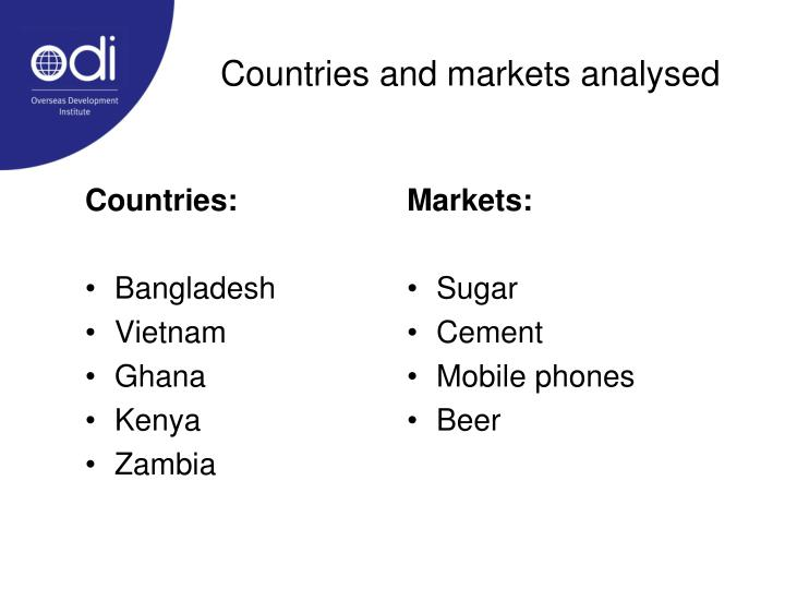 Countries and markets analysed