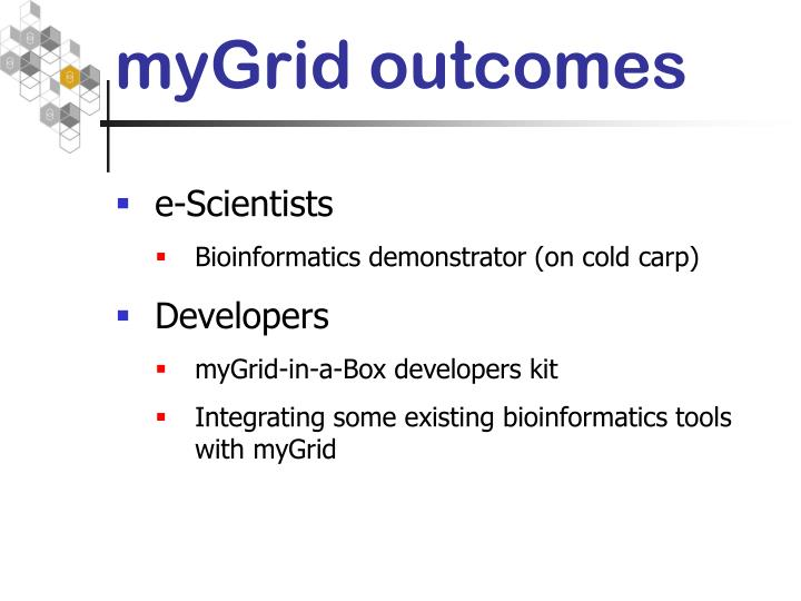 myGrid outcomes