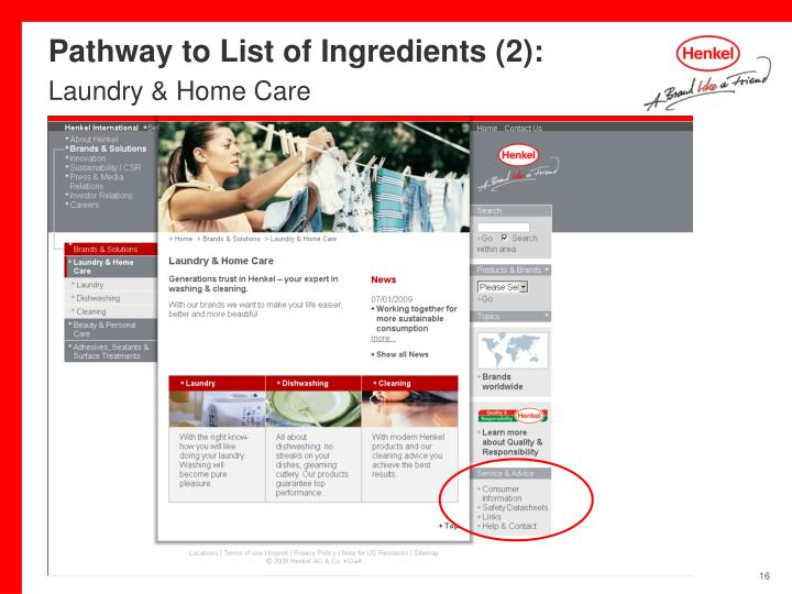 Pathway to List of Ingredients (2):
