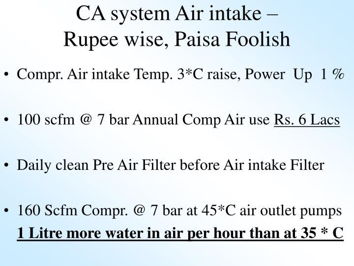 CA system Air intake –