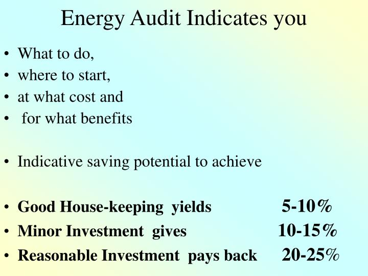 Energy Audit Indicates you