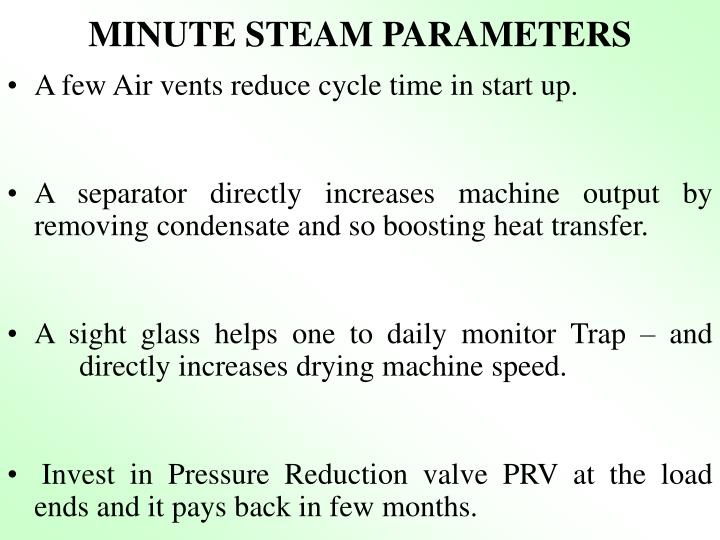 MINUTE STEAM PARAMETERS
