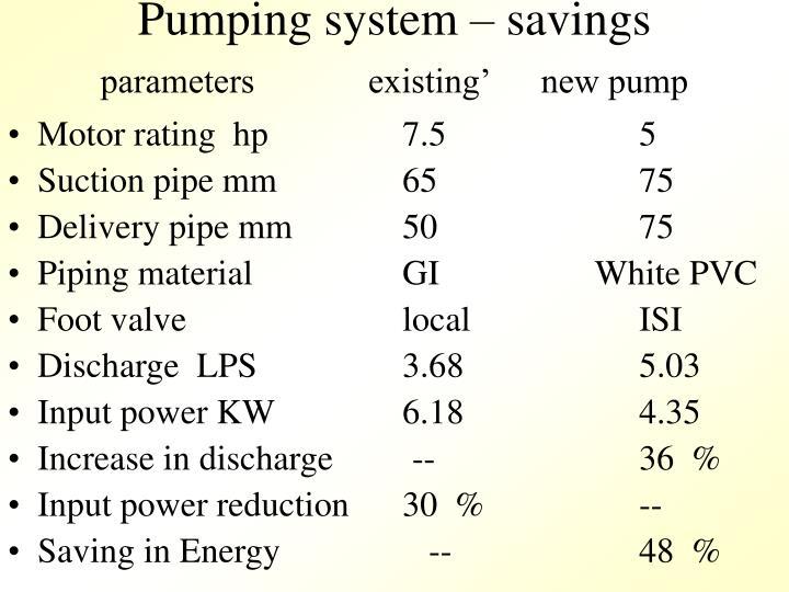 Pumping system – savings