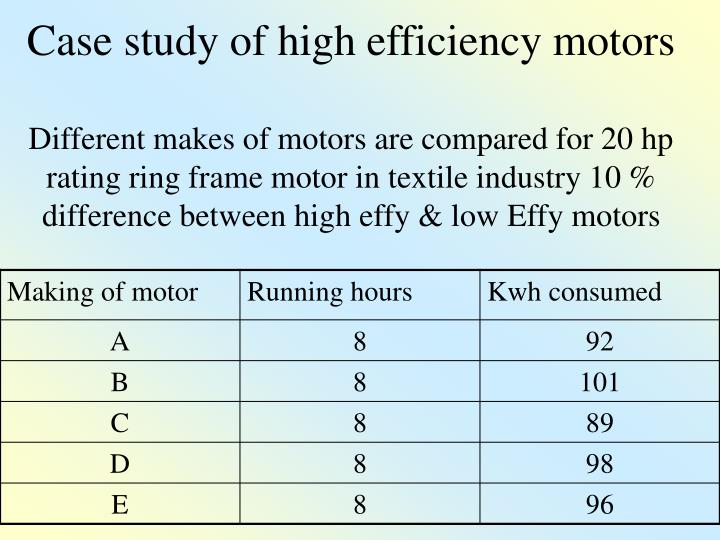 Case study of high efficiency motors