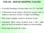steam house keeping values
