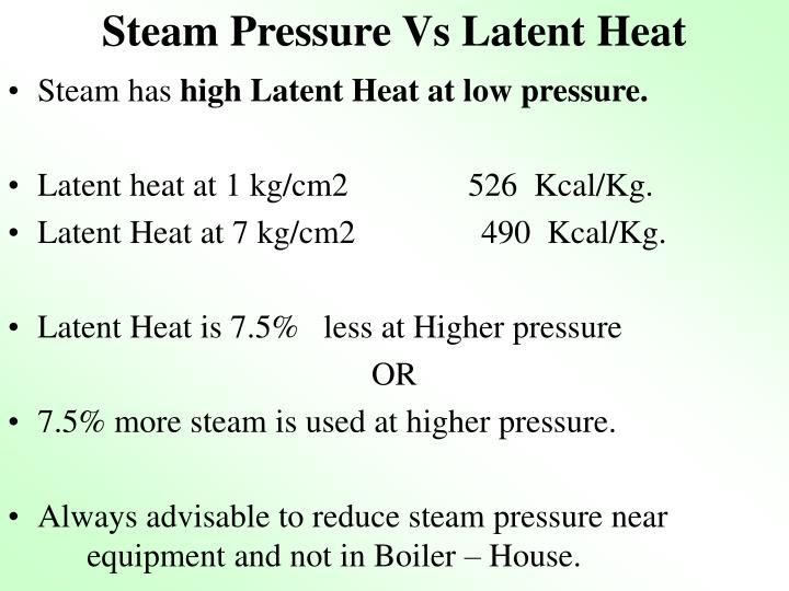 Steam Pressure Vs Latent Heat