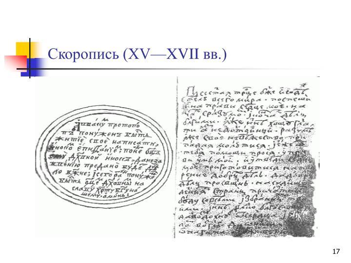 Скоропись (XV—XVIIвв.)