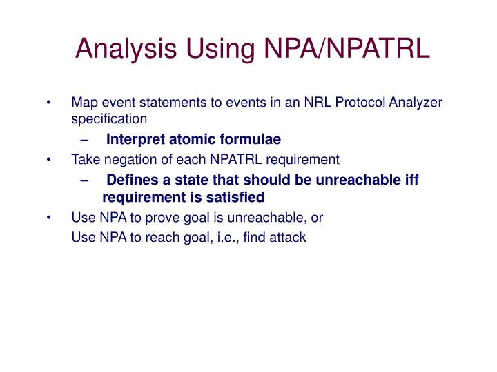 Analysis Using NPA/NPATRL