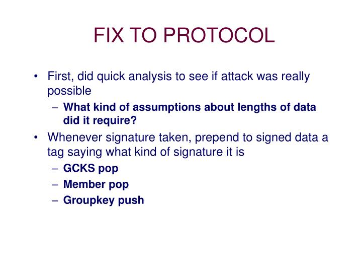 FIX TO PROTOCOL
