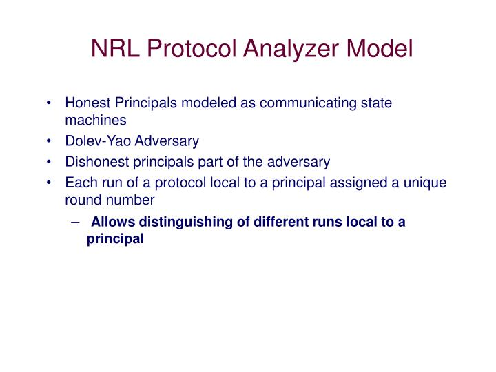 NRL Protocol Analyzer Model