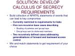 solution develop calculus of secrecy requirements
