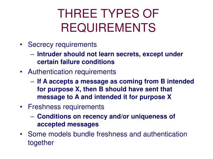 THREE TYPES OF REQUIREMENTS