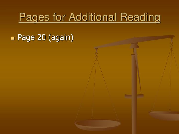 Pages for Additional Reading