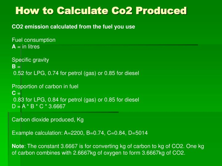 How to Calculate Co2 Produced