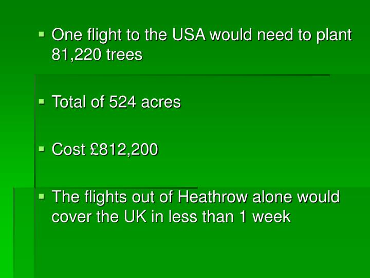 One flight to the USA would need to plant 81,220 trees