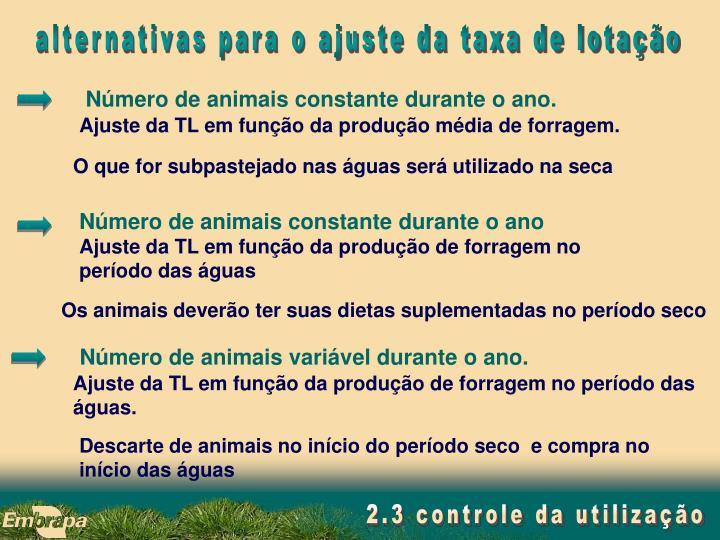 Número de animais constante durante o ano.