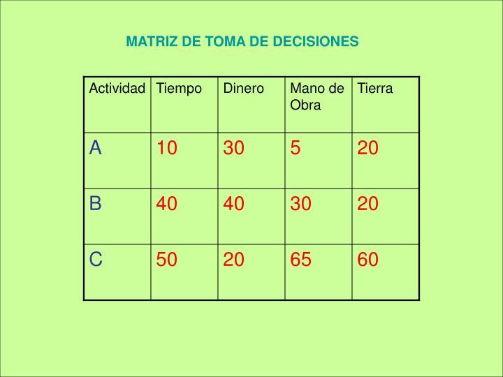 MATRIZ DE TOMA DE DECISIONES