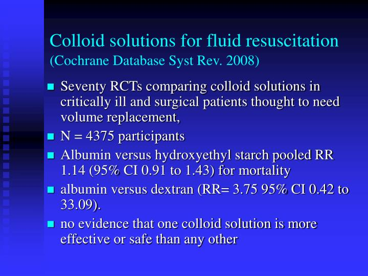 Colloid solutions for fluid resuscitation