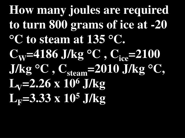 How many joules are required to turn 800 grams of ice at -20