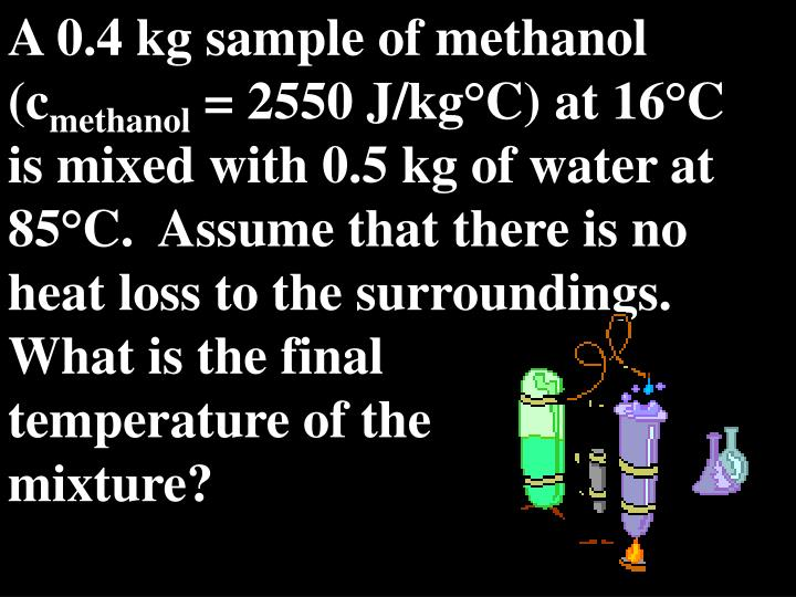 A 0.4 kg sample of methanol (c
