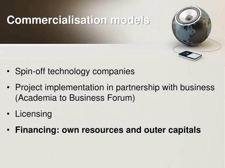 Commercialisation models
