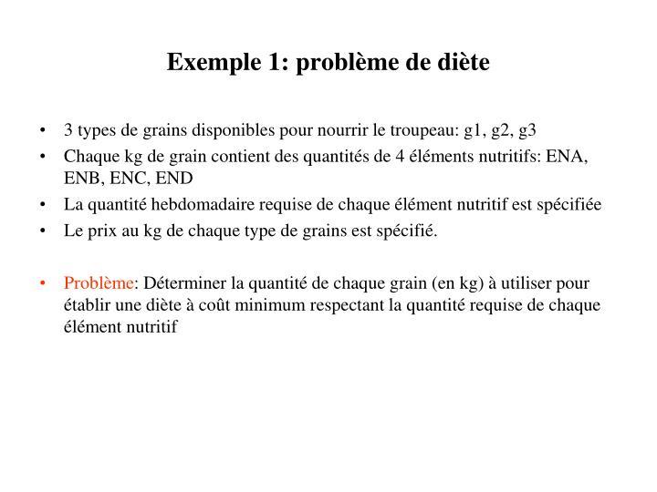 Exemple 1: problème de diète