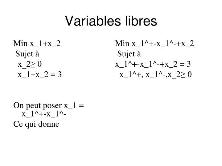 Variables libres