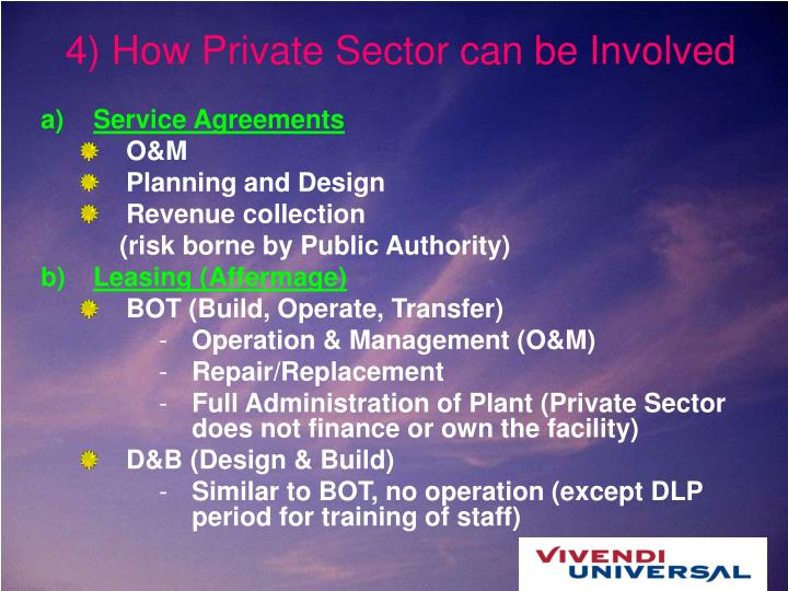 4) How Private Sector can be Involved