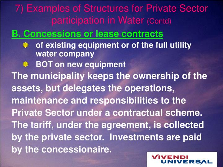 7) Examples of Structures for Private Sector participation in Water