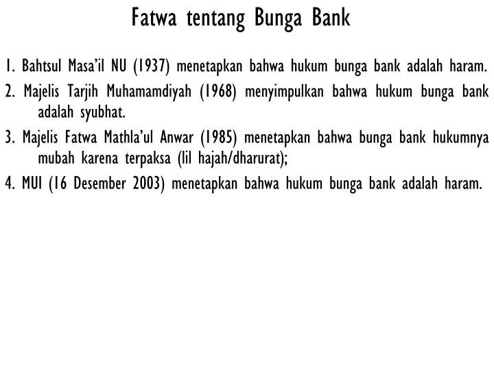 Fatwa tentang Bunga Bank