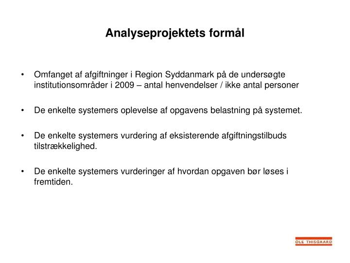Analyseprojektets form l