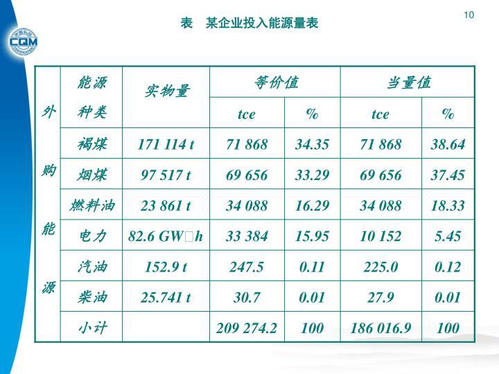 表 某企业投入能源量表