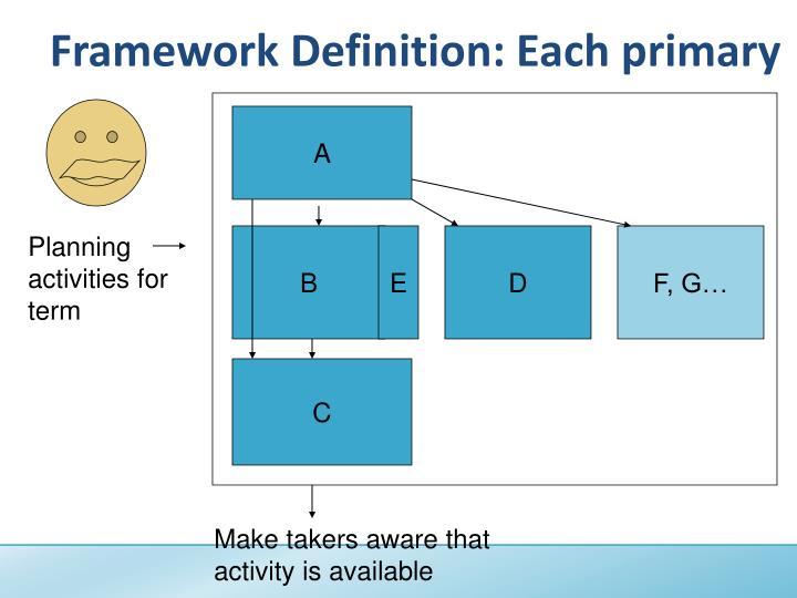Framework Definition: Each primary