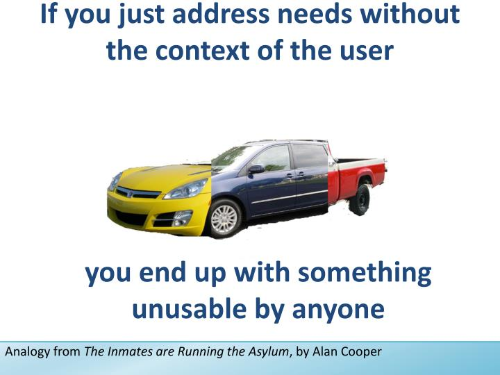 If you just address needs without the context of the user