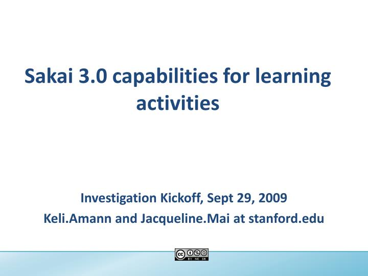 Sakai 3 0 capabilities for learning activities