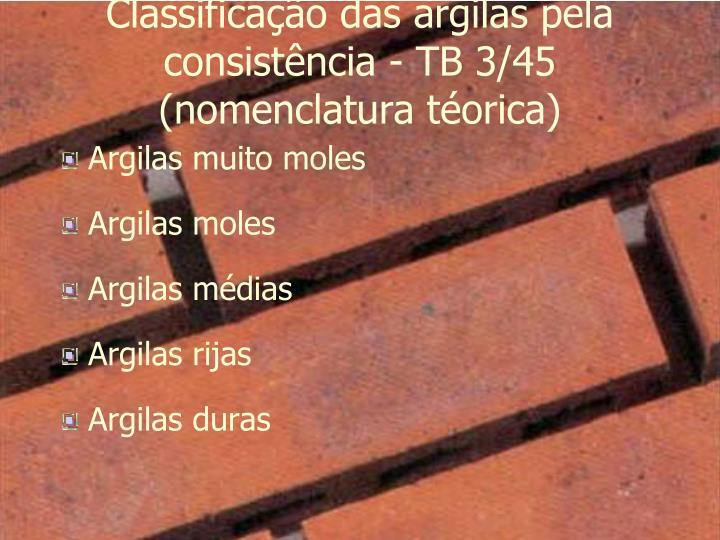 Classificação das argilas pela consistência - TB 3/45 (nomenclatura téorica)
