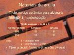 materiais de argila