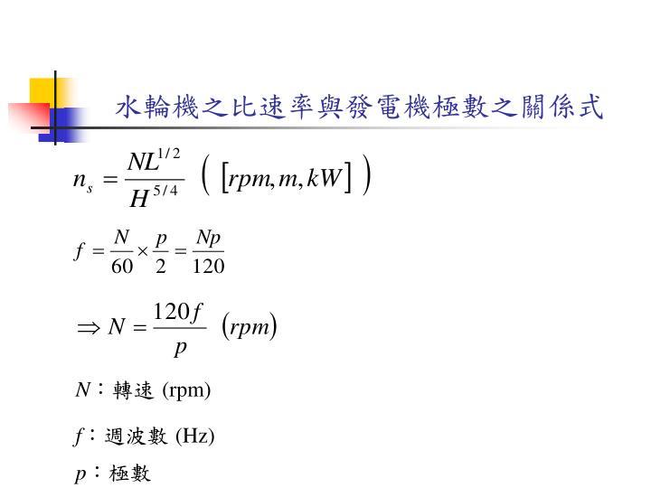 水輪機之比速率與發電機極數之關係式