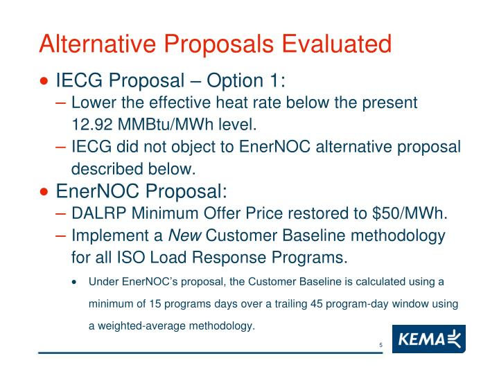 Alternative Proposals Evaluated