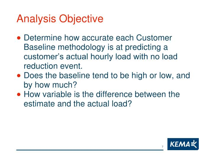Analysis Objective