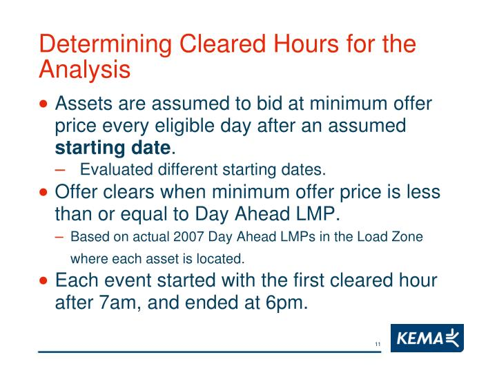 Determining Cleared Hours for the Analysis