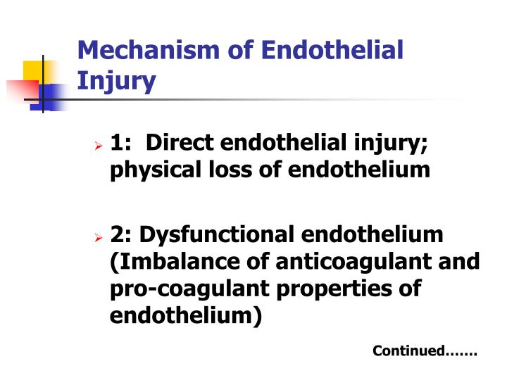 Mechanism of Endothelial Injury