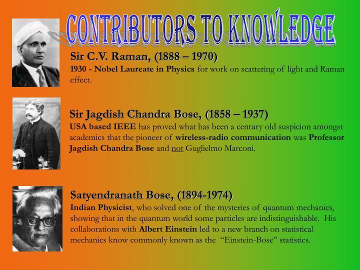 Contributors to knowledge