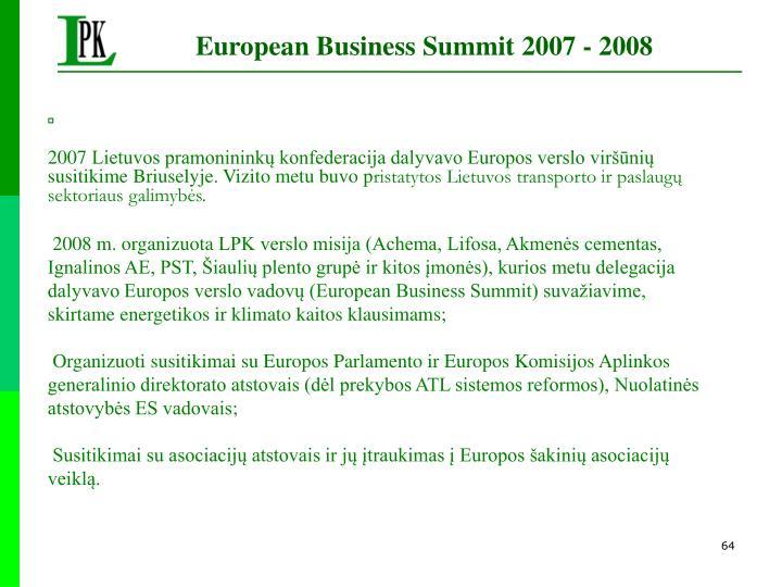 European Business Summit 2007 - 2008